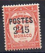 Surcharge  POSTES 2 F 15 Sur Taxe N° 28 - Monaco