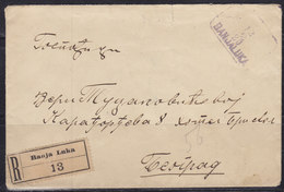 Yugoslavia Kingdom SHS 1920 Verigari (Chain-breakers), Registered Letter From Banja Luka To Beograd - 1919-1929 Kingdom Of Serbs, Croats And Slovenes