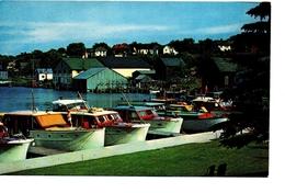 CHARLEVOIX, Michigan, USA, Wooden Cruisers In Round Lake Harbor, 1050's Chrome Postcard - Etats-Unis