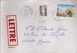 4,40f Parc Du Mercantour+0,10f Marianne : De Seclin à Yzeure - Marcophilie (Lettres)