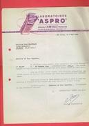 FACTURE 1945 LABORATOIRES ASPRO GERANT JEAN SALLE PHARMACIEN 123 RUE DE ROMAINVILLE A LES LILAS SEINE - 1900 – 1949