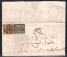 DA ANCONA A VILLAFRANCA PIEMONTESE - 6.10.1852 TASSATA AL CONFINE PER 8 BAJ. - Stato Pontificio