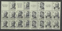 AUSTRALIA SG446a/9a 1969 FAMOUS AUSTRALIANS BOOKLET PANES MNH