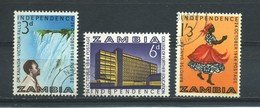 ZAMBIA    1964    Independence    Set  Of  3    USED