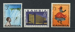 ZAMBIA    1964    Independence    Set  Of  3    MH