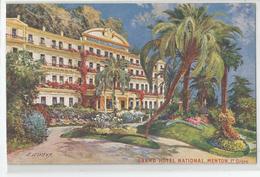 06 - Menton Grand Hotel National 1er Ordre Illustrée Par Lessieux - Menton