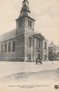 08 Givet Façade De L'église St Hilaire (batie Par Vauban) Animée : Artisan Rémouleur? TBE - Givet