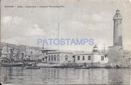 66722 ITALY GENOVA LIGURIA PORT LIGHTHOUSE & STATION MARCONIGRAFICA POSTAL POSTCARD - Italy