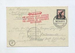 1930 Dt. Reich Zeppelin LZ 129  Sachsenfahrt Rückfahrt Auf Schöner Zeppelinpostkarte Si 100 Ba