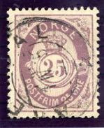 NORWAY 1882 Posthorn 25 Øre Used.  Michel 42 - Used Stamps