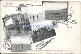 66728 ITALY CHIAVARI GENOVA STATION BATHS MULTI VIEW POSTAL POSTCARD - Italie