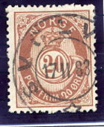 NORWAY 1882 Posthorn 20 Øre Brown Used.  Michel 40 - Used Stamps