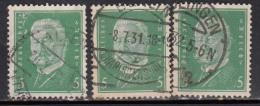 5pf X 3 Diff., Shades / Paper Varities, 'Deutsches Reich' Used 1928 Hindenburg Deutschland Germany, As Scan