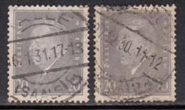 20pf X 2 Diff., Shades / Paper Varities, 'Deutsches Reich' Used 1928 Ebert Deutschland Germany, As Scan