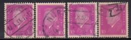 10pf X 4 Diff., Shades / Paper Varities, 'Deutsches Reich' Used 1928 Ebert Deutschland Germany, As Scan