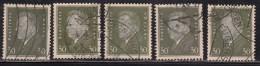 30pf X 5 Diff., Shades / Paper Varities, 'Deutsches Reich' Used 1928 Ebert Deutschland Germany, As Scan