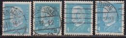 4pf X 4 Diff., Shades / Paper Varities, 'Deutsches Reich' Used 1928 Hindenburg Deutschland Germany, As Scan