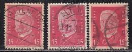 15pf X 3 Diff., Shades / Paper Varities, 'Deutsches Reich' Used 1928 Hindenburg Deutschland Germany, As Scan