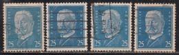 25pf X 4 Diff., Shades / Paper Varities, 'Deutsches Reich' Used 1928 Hindenburg Deutschland Germany, As Scan