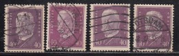 40pf X 4 Diff., Shades / Paper Varities, 'Deutsches Reich' Used 1928 Hindenburg Deutschland Germany, As Scan