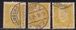 80pf X 3 Diff., Shades / Paper Varities, 'Deutsches Reich' Used 1928 Hindenburg Deutschland Germany, As Scan