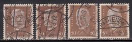 50pf X 4 Diff., Shades / Paper Varities, 'Deutsches Reich' Used 1928 Hindenburg Deutschland Germany, As Scan