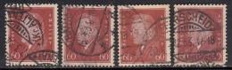 60pf X 4 Diff., Shades / Paper Varities, 'Deutsches Reich' Used 1928 Ebert Deutschland Germany, As Scan