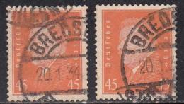 45pf X 2 Diff., Shades / Paper Varities, 'Deutsches Reich' Used 1928 Ebert Deutschland Germany, As Scan