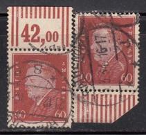 45pf X 2 Margin Tab,  'Deutsches Reich' Used 1928 Ebert Deutschland Germany, As Scan