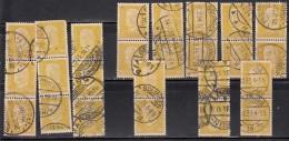 80pf X Pairs & Strips, (Qty 23), Shades / Paper Varities, 'Deutsches Reich' Used 1928 Hindenburg Deutschland Germany