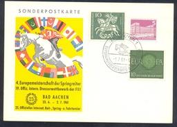 Germany Deutschland 1961 Card: Cavallo Horse Pferd Cheval: Equestrian; 4. Europameisterschaft Der Springer;  Dressur