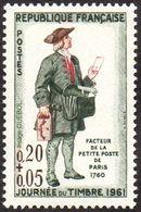 France N° 1285 ** Journée Du Timbre 61 - Facteur De La Petite Poste De Paris 1760