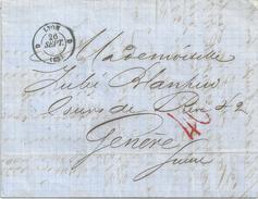 Taxierter BoM  Lyon - Genève  (40 Taxstempel)            1860