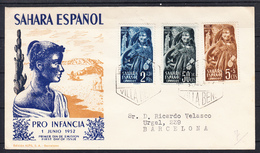 SAHARA 1952.SOBRE 1er. DIA. FDC  EDIFIL Nº 94/96. PRO INFANCIA. CN1205 - Spanish Sahara