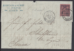 FR - 1879 - Sage N° 91 Sur Pli De Lyon Pour Schupfheim - Suisse - B/TB -