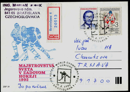 770-CZECHOSLOVAKIA Postel Card-with Imprint World Ice Hockey Championships Bratislava 1992