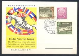 Germany Deutschland 1962 Card: Cavallo Horse Pferd Cheval: Equestrian; Grosser Preis Von Europa Bad Aachen