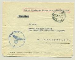 Nederland - 1944 - Herbruikte Brief Durch Deutsche Dienstpost Niederlande Van Leeuwarden Naar Oosterwolde