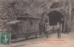 09-L'HOSPITALET-Travaux Du Transpyrénéen-Entrée Du Tunnel - La Motrice Electrique 1912  Animé - Frankrijk
