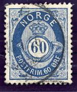 NORWAY 1877 Posthorn 60 Øre Used.  Michel 31 - Norway