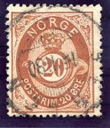 NORWAY 1877 Posthorn 20 Øre Used.  Michel 27 - Norway