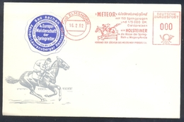 Germany Deutschland 1962 Cover With Label: Cavallo Horse Pferd Cheval: Equestrian; EM Aachen; Ema Meter Horse Meteor