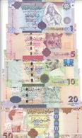 LIBYA 1 5 10 20 50 DINARS 2008 2009 P-71 72 73 74 75 GADDAFI UNC SET  */* - Libye