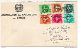 INDIA 1963  Cover With  UNO , (in KATANGA) CONGO. (ONUC). 6  India Stamps On Official UN Stationery Cover., See Details. - Katanga