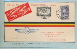 BELGIAN CONGO   INLAND FIRST FLIGHT 1936 E/VILLE KABALO