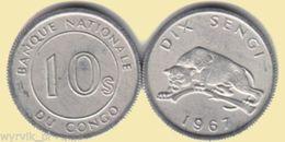 CONGO Kongo 1967 10 Dix Sengi Leopard UNC - Kongo (Dem. Republik 1998)