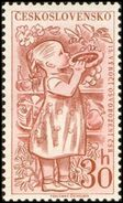 Czechoslovakia / Stamps (1960) 1112: Liberation Of Czechoslovakia 1945 (Little Girl With Cake, Bee) Painter: A. Podzemna