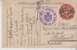 Italia - 1915 - Cartolina Postale In Franchigia - Reali  Carabinieri Regi  2° Armata Comando Di Tappa Bellante Teramo Gg