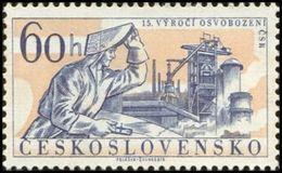 Czechoslovakia / Stamps (1960) 1113: Liberation Of Czechoslovakia 1945 (Welder; Blast Furnace); Painter: Viktor Polasek