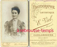 CDV Jolie Femme Avec Beau Corsage-mode-peintre Photographe E. Viel Rue De La Pêcherie à Coulommiers - Photos
